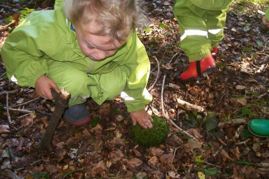 Exploring the woods in Forest School